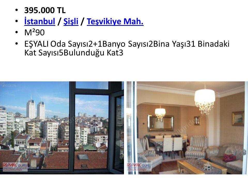 395.000 TL İstanbul / Şişli / Teşvikiye Mah. İstanbulŞişliTeşvikiye Mah. M²90 EŞYALI Oda Sayısı2+1Banyo Sayısı2Bina Yaşı31 Binadaki Kat Sayısı5Bulundu