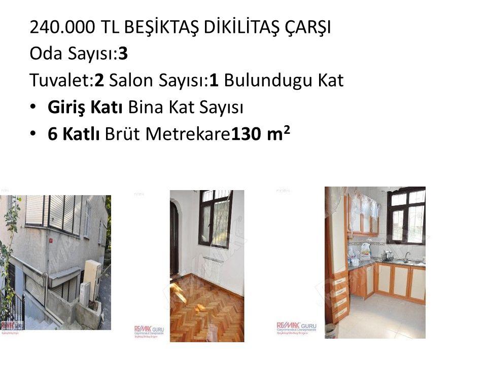 240.000 TL BEŞİKTAŞ DİKİLİTAŞ ÇARŞI Oda Sayısı:3 Tuvalet:2 Salon Sayısı:1 Bulundugu Kat Giriş Katı Bina Kat Sayısı 6 Katlı Brüt Metrekare130 m 2