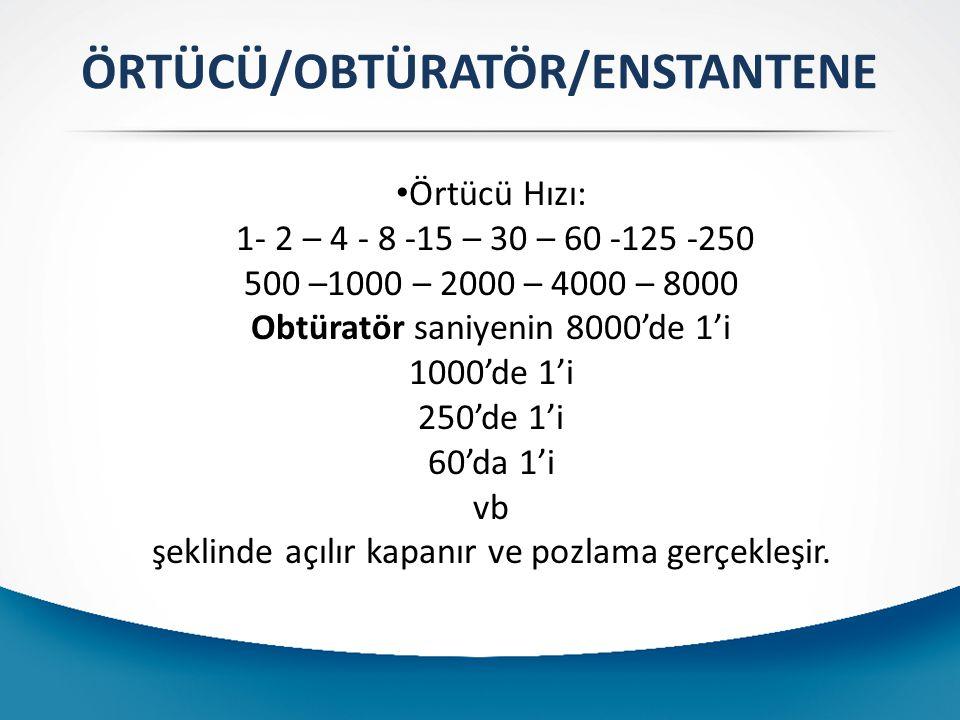 Örtücü Hızı: 1- 2 – 4 - 8 -15 – 30 – 60 -125 -250 500 –1000 – 2000 – 4000 – 8000 Obtüratör saniyenin 8000'de 1'i 1000'de 1'i 250'de 1'i 60'da 1'i vb şeklinde açılır kapanır ve pozlama gerçekleşir.