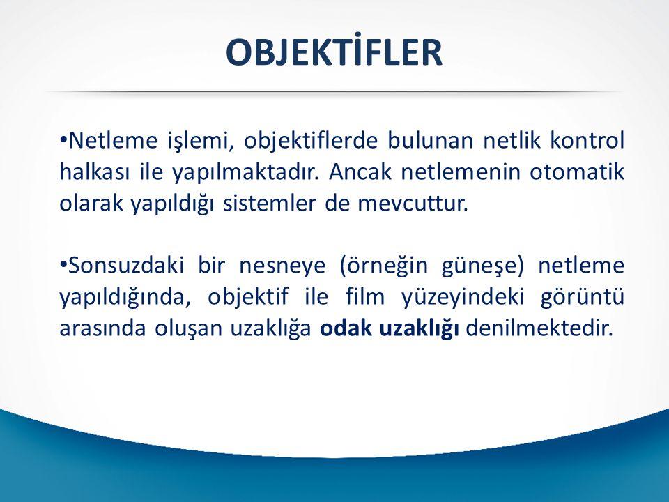 OBJEKTİFLER Netleme işlemi, objektiflerde bulunan netlik kontrol halkası ile yapılmaktadır.