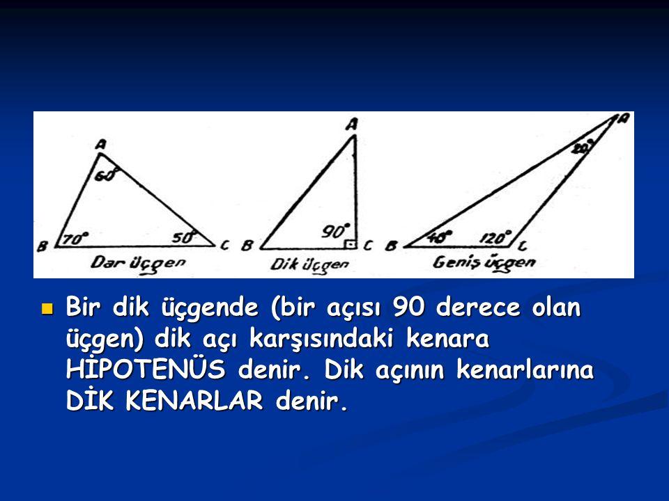 Bir dik üçgende (bir açısı 90 derece olan üçgen) dik açı karşısındaki kenara HİPOTENÜS denir. Dik açının kenarlarına DİK KENARLAR denir.