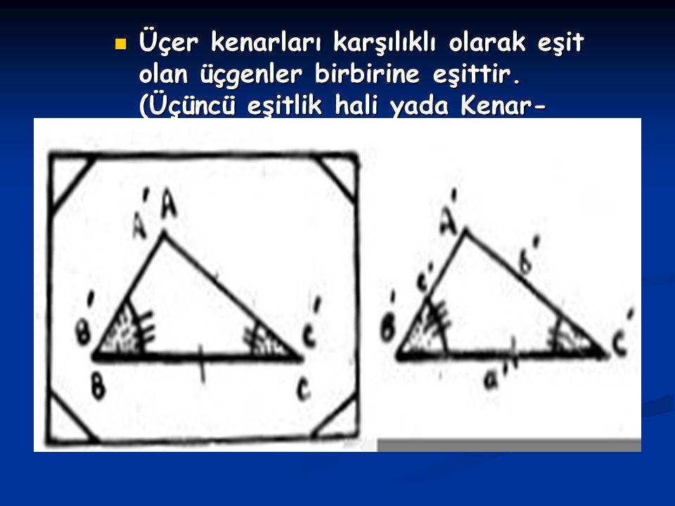 Üçer kenarları karşılıklı olarak eşit olan üçgenler birbirine eşittir. (Üçüncü eşitlik hali yada Kenar- Kenar-Kenar yada kısaca K.K.K )