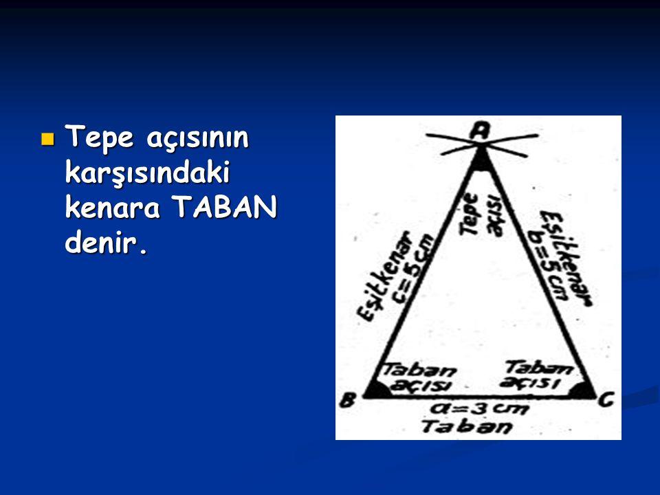 Tepe açısının karşısındaki kenara TABAN denir. Tepe açısının karşısındaki kenara TABAN denir.