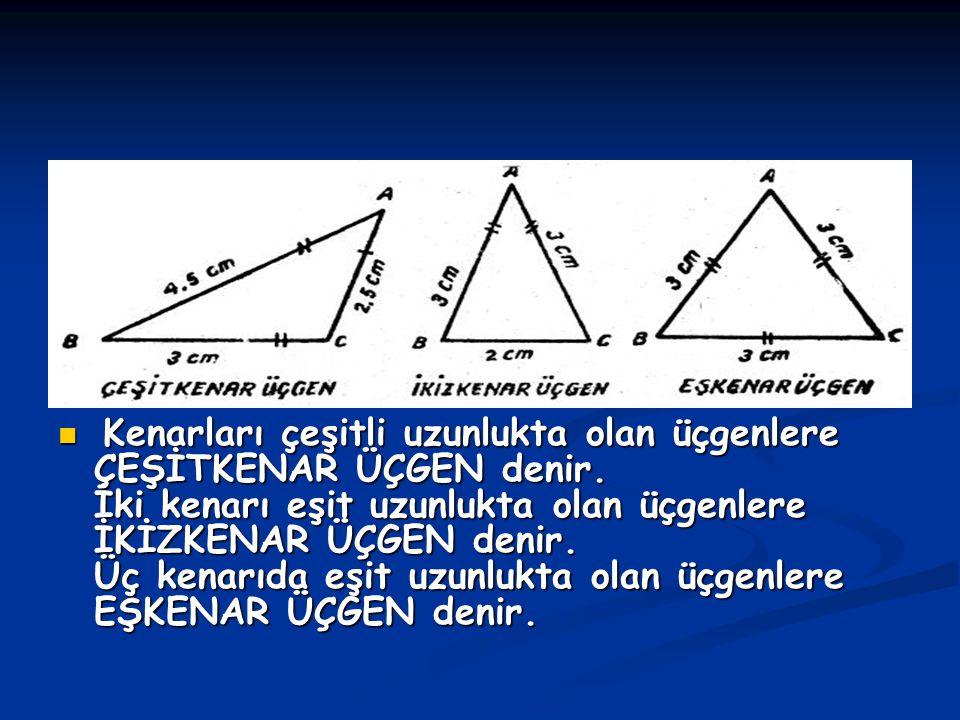 Kenarları çeşitli uzunlukta olan üçgenlere ÇEŞİTKENAR ÜÇGEN denir. İki kenarı eşit uzunlukta olan üçgenlere İKİZKENAR ÜÇGEN denir. Üç kenarıda eşit uz