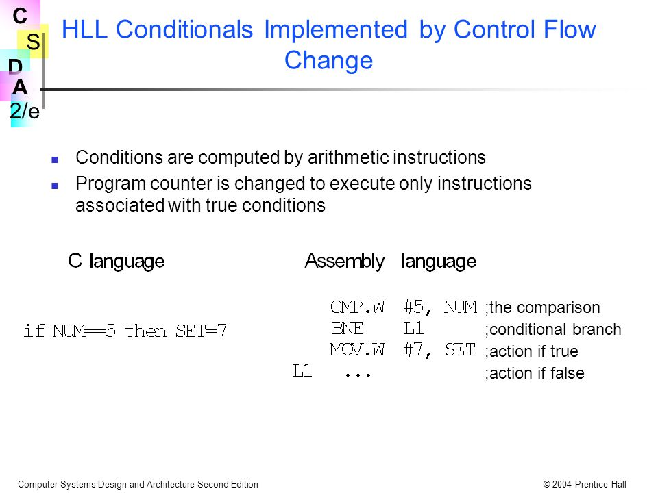 S 2/e C D A Computer Systems Design and Architecture Second Edition© 2004 Prentice Hall HLL Conditionals Implemented by Control Flow Change Conditions are computed by arithmetic instructions Program counter is changed to execute only instructions associated with true conditions ;the comparison ;conditional branch ;action if true ;action if false