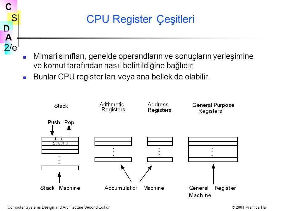 S 2/e C D A Computer Systems Design and Architecture Second Edition© 2004 Prentice Hall CPU Register Çeşitleri Mimari sınıfları, genelde operandların