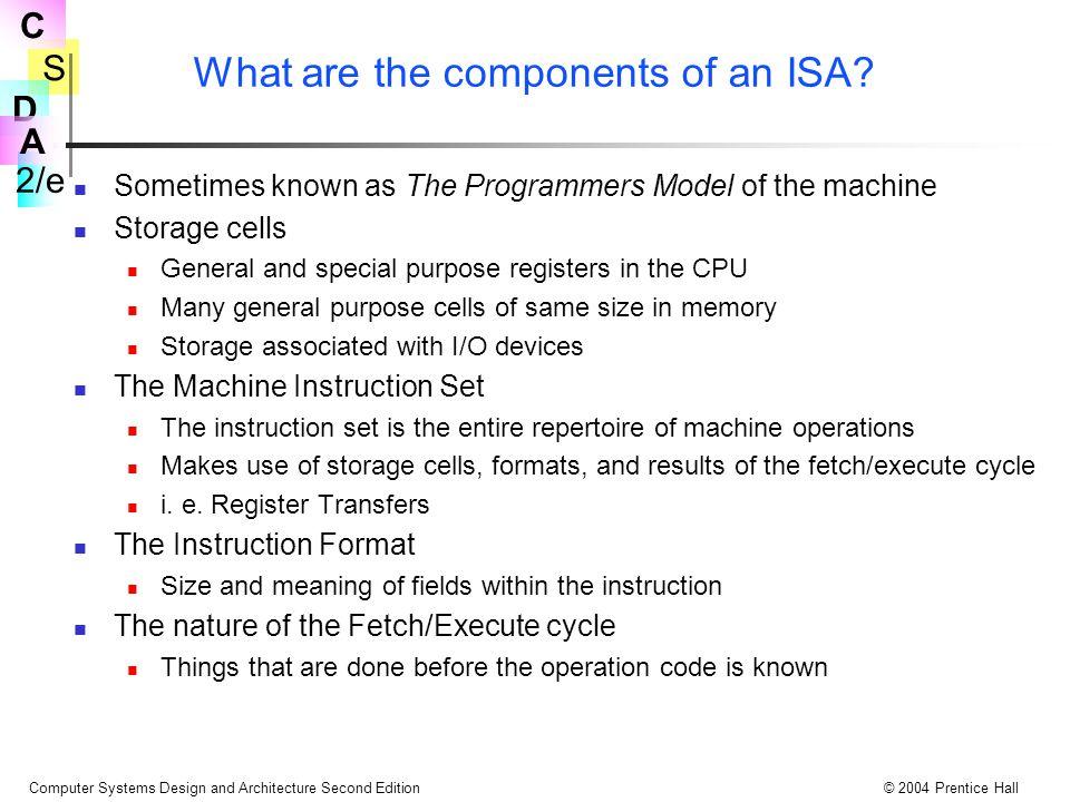 S 2/e C D A Computer Systems Design and Architecture Second Edition© 2004 Prentice Hall Dinamic Özelliklerin Tanımlanmasında RTN Kullanılması Dynamic Özellikler Koşullu İfadeler: (op=12)  R[ra]  R[rb] + R[rc]: ; toplama(add) komutunu belirtir eger koşul sonra RTN Assignment Operator Bu RTN parçası SRC de toplama(add) ifadesini tanımlar.