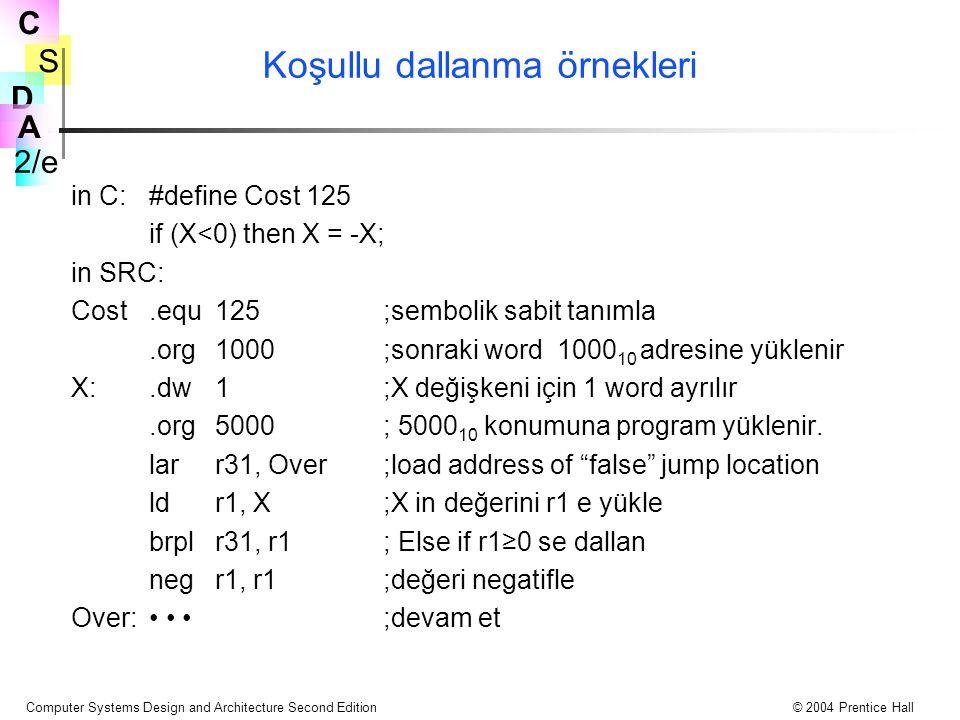 S 2/e C D A Computer Systems Design and Architecture Second Edition© 2004 Prentice Hall Koşullu dallanma örnekleri in C:#define Cost 125 if (X<0) then