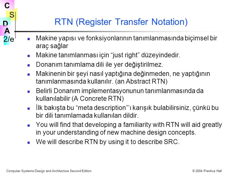 S 2/e C D A Computer Systems Design and Architecture Second Edition© 2004 Prentice Hall RTN (Register Transfer Notation) Makine yapısı ve fonksiyonlar