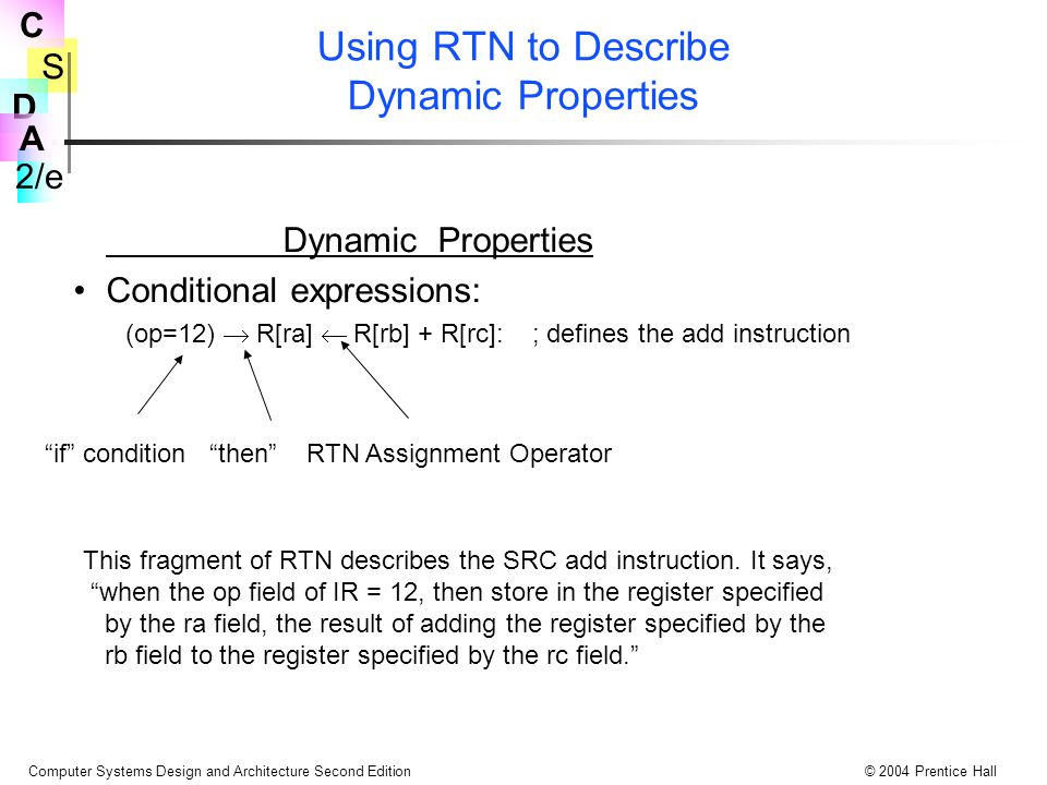 S 2/e C D A Computer Systems Design and Architecture Second Edition© 2004 Prentice Hall Using RTN to Describe Dynamic Properties Dynamic Properties Conditional expressions: (op=12)  R[ra]  R[rb] + R[rc]: ; defines the add instruction if condition then RTN Assignment Operator This fragment of RTN describes the SRC add instruction.