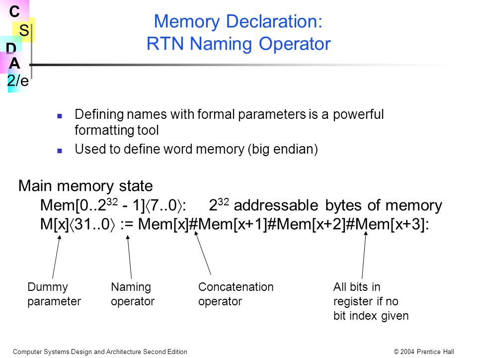 S 2/e C D A Computer Systems Design and Architecture Second Edition© 2004 Prentice Hall Memory Declaration: RTN Naming Operator Defining names with formal parameters is a powerful formatting tool Used to define word memory (big endian) Main memory state Mem[0..2 32 - 1]  7..0  :2 32 addressable bytes of memory M[x]  31..0  := Mem[x]#Mem[x+1]#Mem[x+2]#Mem[x+3]: Dummy parameter Naming operator Concatenation operator All bits in register if no bit index given