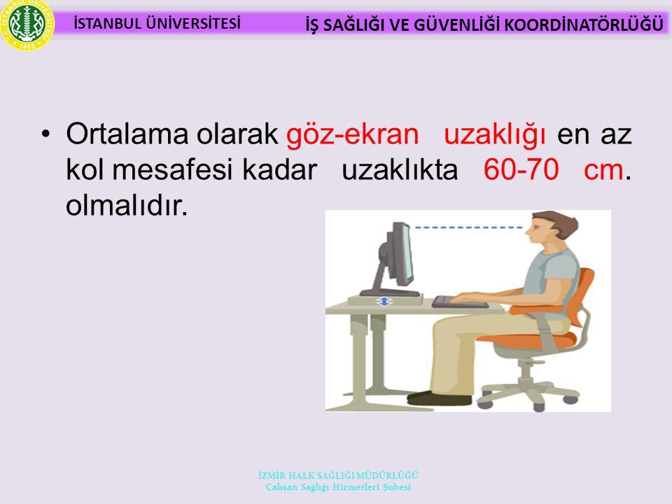İSTANBUL ÜNİVERSİTESİ İŞ SAĞLIĞI VE GÜVENLİĞİ KOORDİNATÖRLÜĞÜ Ortalama olarak göz-ekran uzaklığı en az kol mesafesi kadar uzaklıkta 60-70 cm.