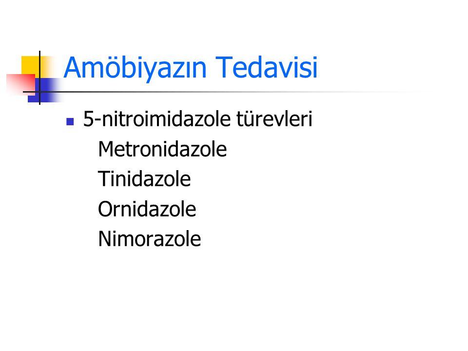 Amöbiyazın Tedavisi 5-nitroimidazole türevleri Metronidazole Tinidazole Ornidazole Nimorazole