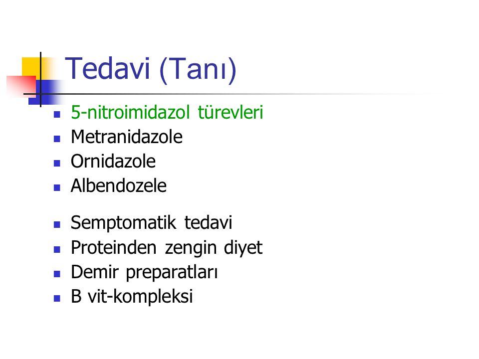 Tedavi (Tanı) 5-nitroimidazol türevleri Metranidazole Ornidazole Albendozele Semptomatik tedavi Proteinden zengin diyet Demir preparatları B vit-kompleksi