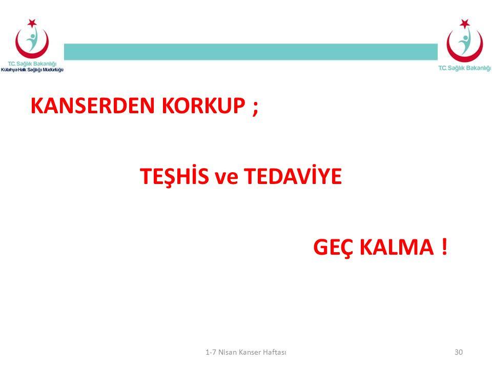 KANSERDEN KORKUP ; TEŞHİS ve TEDAVİYE GEÇ KALMA ! 1-7 Nisan Kanser Haftası30