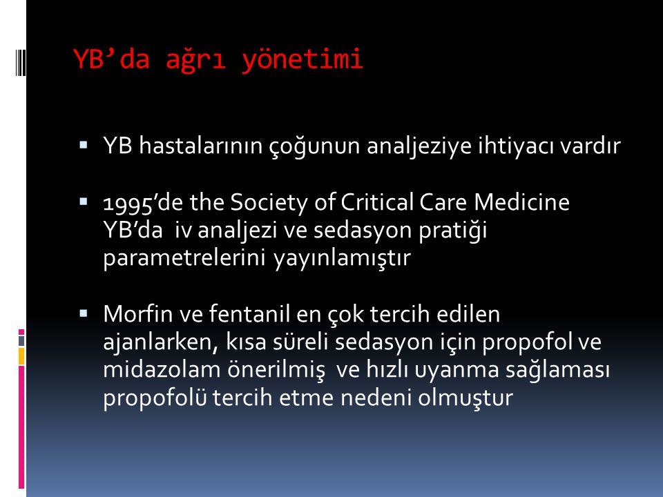 YB'da ağrı yönetimi  YB hastalarının çoğunun analjeziye ihtiyacı vardır  1995'de the Society of Critical Care Medicine YB'da iv analjezi ve sedasyon pratiği parametrelerini yayınlamıştır  Morfin ve fentanil en çok tercih edilen ajanlarken, kısa süreli sedasyon için propofol ve midazolam önerilmiş ve hızlı uyanma sağlaması propofolü tercih etme nedeni olmuştur