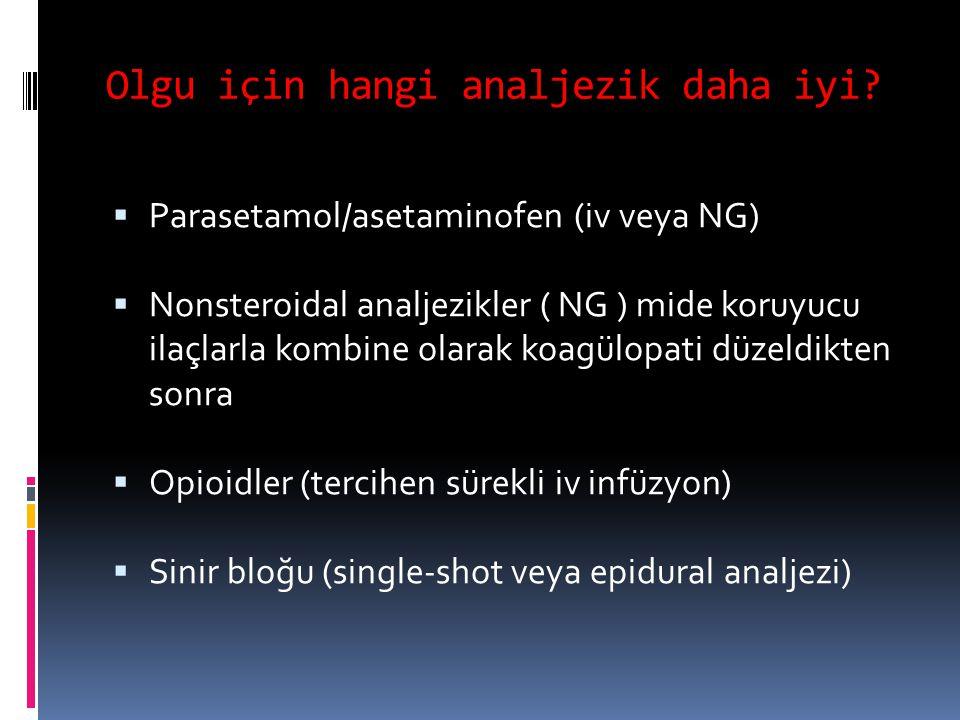 Olgu için hangi analjezik daha iyi?  Parasetamol/asetaminofen (iv veya NG)  Nonsteroidal analjezikler ( NG ) mide koruyucu ilaçlarla kombine olarak