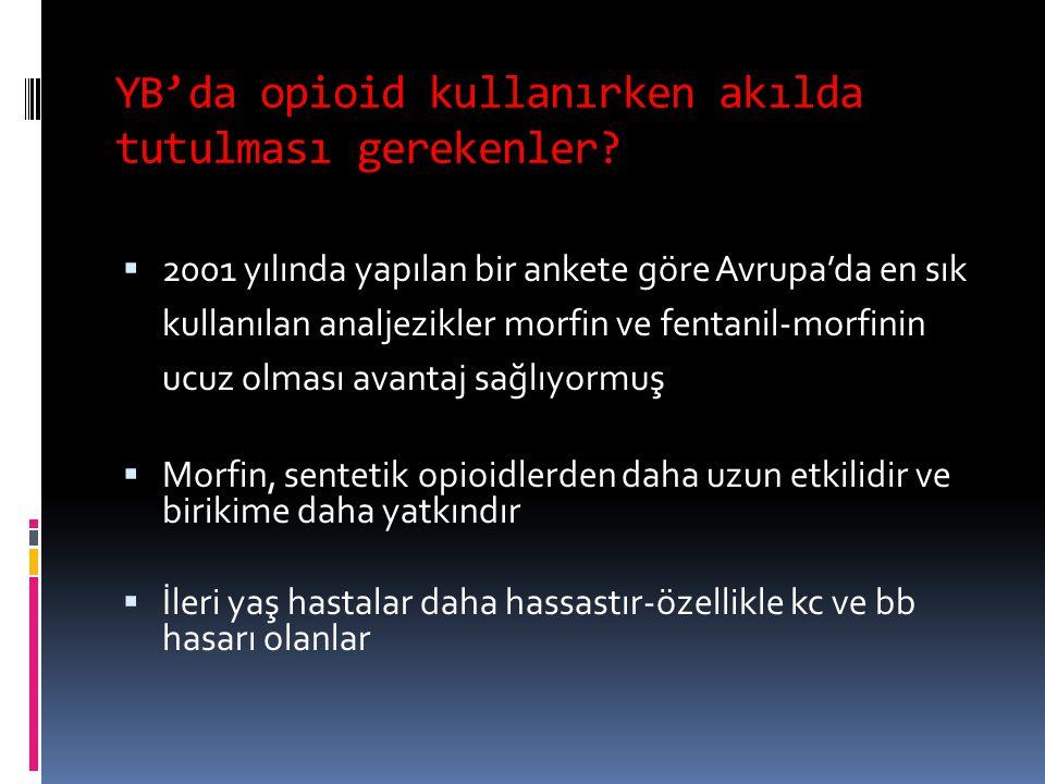 YB'da opioid kullanırken akılda tutulması gerekenler?  2001 yılında yapılan bir ankete göre Avrupa'da en sık kullanılan analjezikler morfin ve fentan