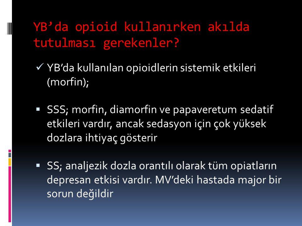 YB'da opioid kullanırken akılda tutulması gerekenler? YB'da kullanılan opioidlerin sistemik etkileri (morfin);  SSS; morfin, diamorfin ve papaveretum
