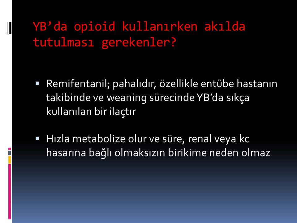 YB'da opioid kullanırken akılda tutulması gerekenler?  Remifentanil; pahalıdır, özellikle entübe hastanın takibinde ve weaning sürecinde YB'da sıkça