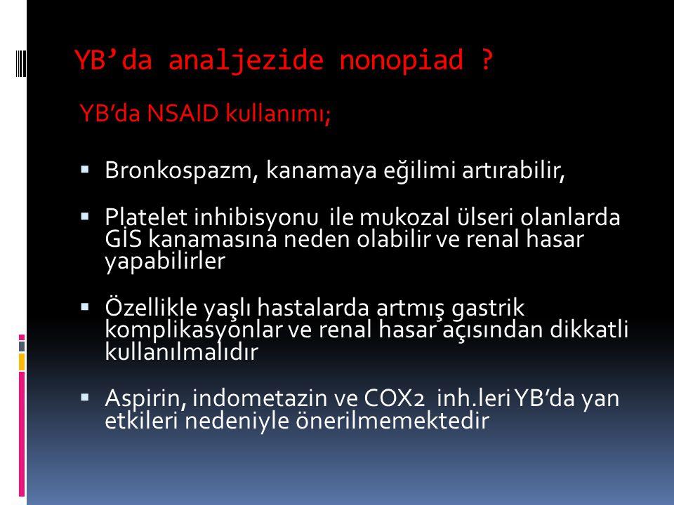 YB'da analjezide nonopiad ? YB'da NSAID kullanımı;  Bronkospazm, kanamaya eğilimi artırabilir,  Platelet inhibisyonu ile mukozal ülseri olanlarda Gİ