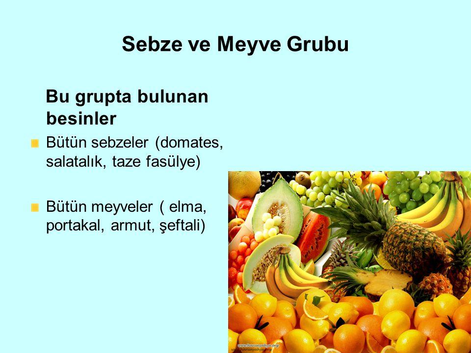 Sebze ve Meyve Grubu Bu grupta bulunan besinler Bütün sebzeler (domates, salatalık, taze fasülye) Bütün meyveler ( elma, portakal, armut, şeftali)