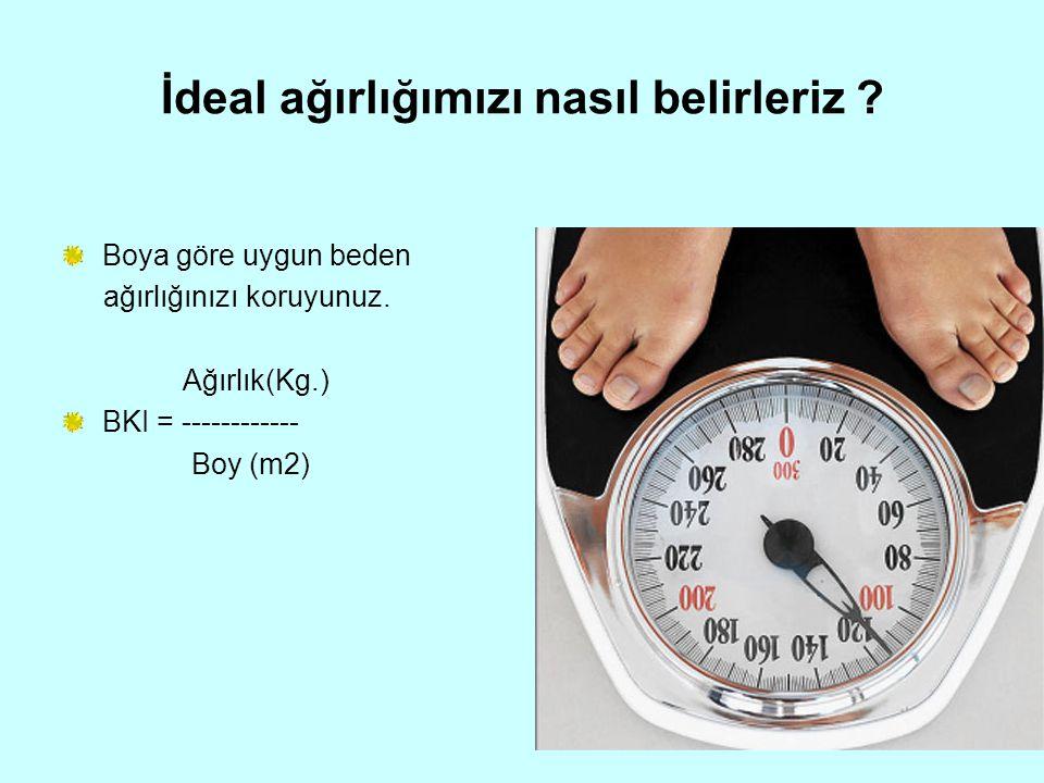 İdeal ağırlığımızı nasıl belirleriz ? Boya göre uygun beden ağırlığınızı koruyunuz. Ağırlık(Kg.) BKI = ------------ Boy (m2)