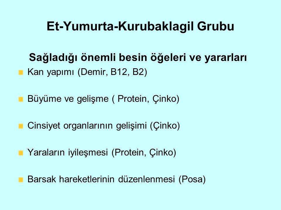 Et-Yumurta-Kurubaklagil Grubu Sağladığı önemli besin öğeleri ve yararları Kan yapımı (Demir, B12, B2) Büyüme ve gelişme ( Protein, Çinko) Cinsiyet org