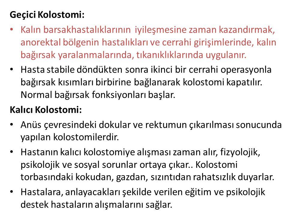 Geçici Kolostomi: Kalın barsakhastalıklarının iyileşmesine zaman kazandırmak, anorektal bölgenin hastalıkları ve cerrahi girişimlerinde, kalın bağırsa