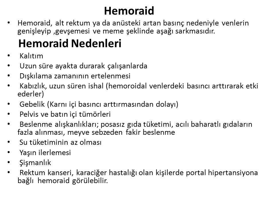 Hemoraid Hemoraid, alt rektum ya da anüsteki artan basınç nedeniyle venlerin genişleyip,gevşemesi ve meme şeklinde aşağı sarkmasıdır. Hemoraid Nedenle