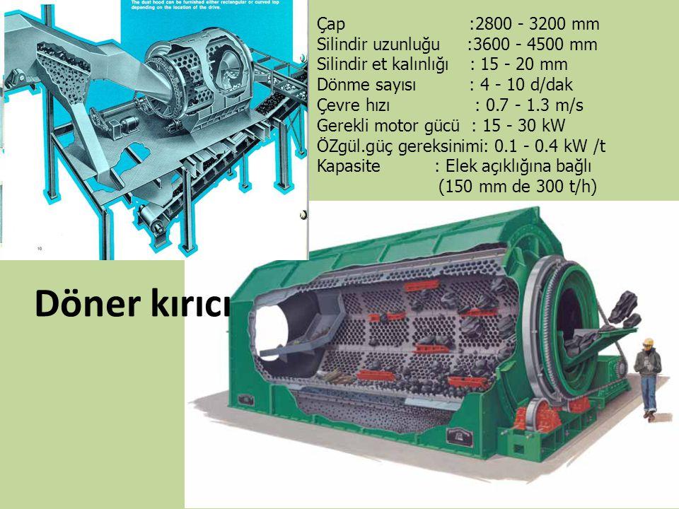 Döner kırıcı Çap :2800 - 3200 mm Silindir uzunluğu :3600 - 4500 mm Silindir et kalınlığı : 15 - 20 mm Dönme sayısı : 4 - 10 d/dak Çevre hızı : 0.7 - 1