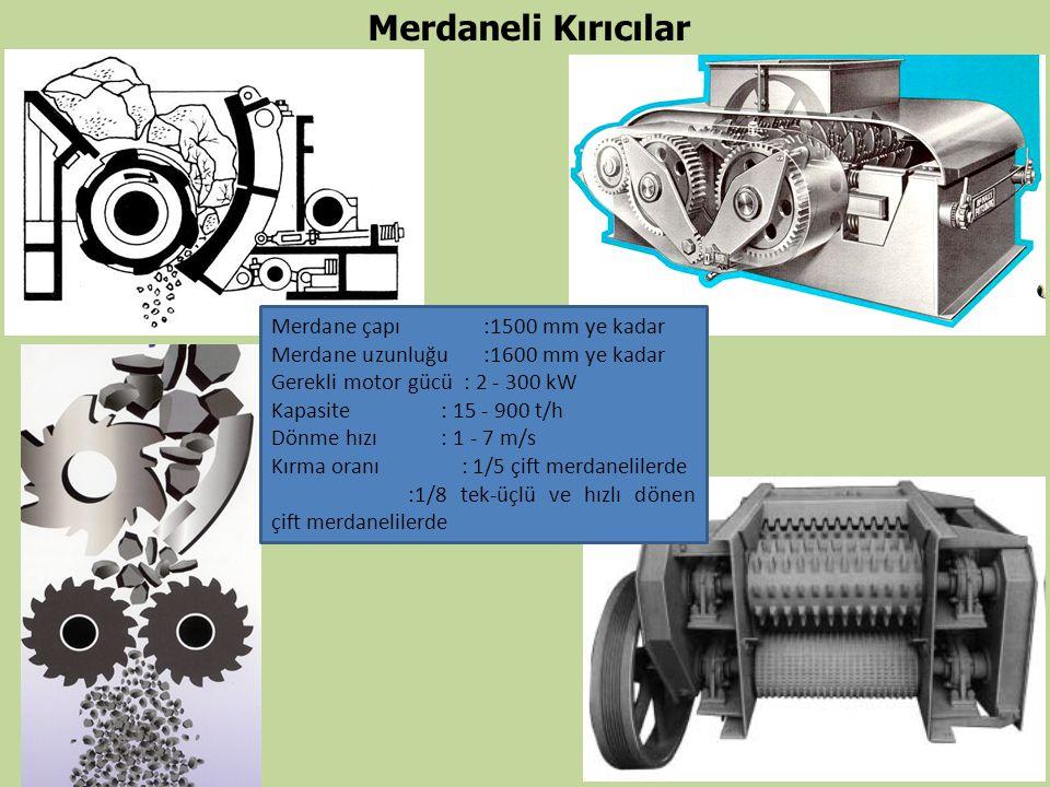 Merdaneli Kırıcılar Merdane çapı:1500 mm ye kadar Merdane uzunluğu:1600 mm ye kadar Gerekli motor gücü : 2 - 300 kW Kapasite : 15 - 900 t/h Dönme hızı