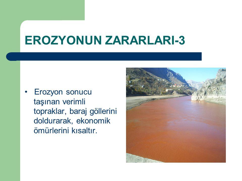 EROZYONUN ZARARLARI-3 Erozyon sonucu taşınan verimli topraklar, baraj göllerini doldurarak, ekonomik ömürlerini kısaltır.