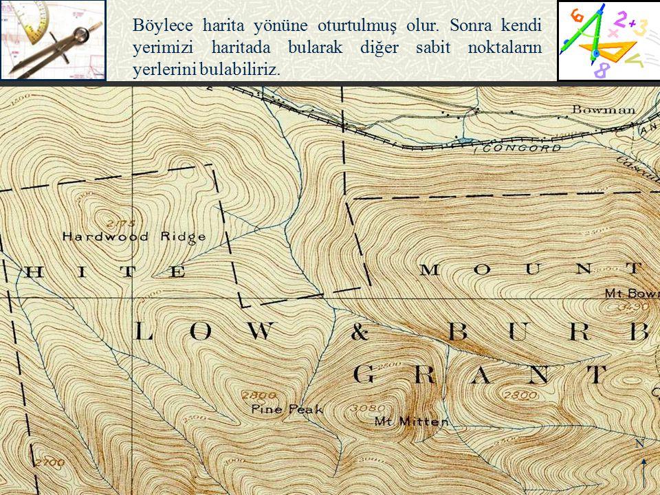 N Böylece harita yönüne oturtulmuş olur. Sonra kendi yerimizi haritada bularak diğer sabit noktaların yerlerini bulabiliriz.