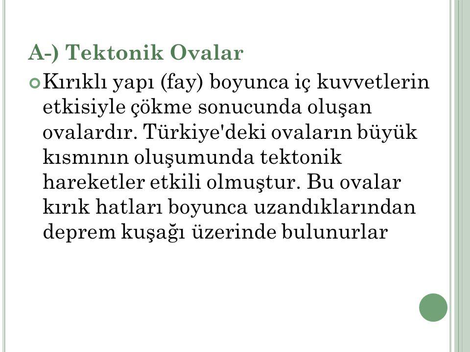 A-) Tektonik Ovalar Kırıklı yapı (fay) boyunca iç kuvvetlerin etkisiyle çökme sonucunda oluşan ovalardır. Türkiye'deki ovaların büyük kısmının oluşumu