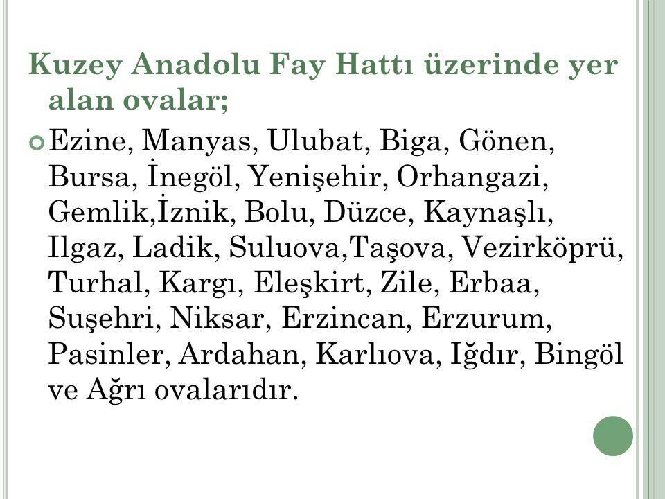 Kuzey Anadolu Fay Hattı üzerinde yer alan ovalar; Ezine, Manyas, Ulubat, Biga, Gönen, Bursa, İnegöl, Yenişehir, Orhangazi, Gemlik,İznik, Bolu, Düzce,