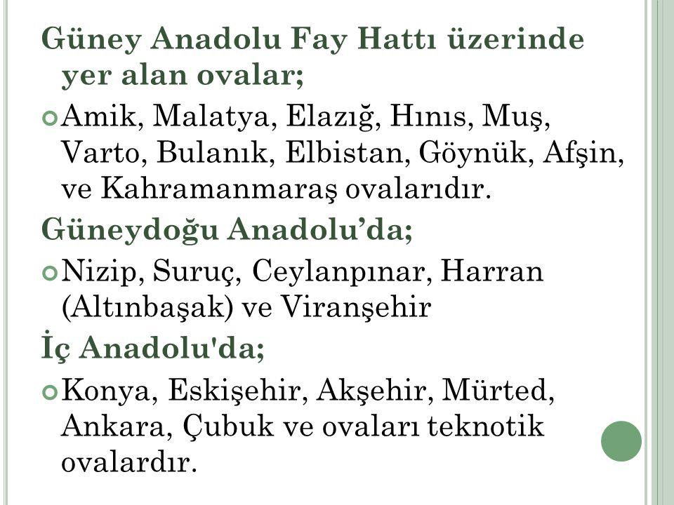 Güney Anadolu Fay Hattı üzerinde yer alan ovalar; Amik, Malatya, Elazığ, Hınıs, Muş, Varto, Bulanık, Elbistan, Göynük, Afşin, ve Kahramanmaraş ovaları