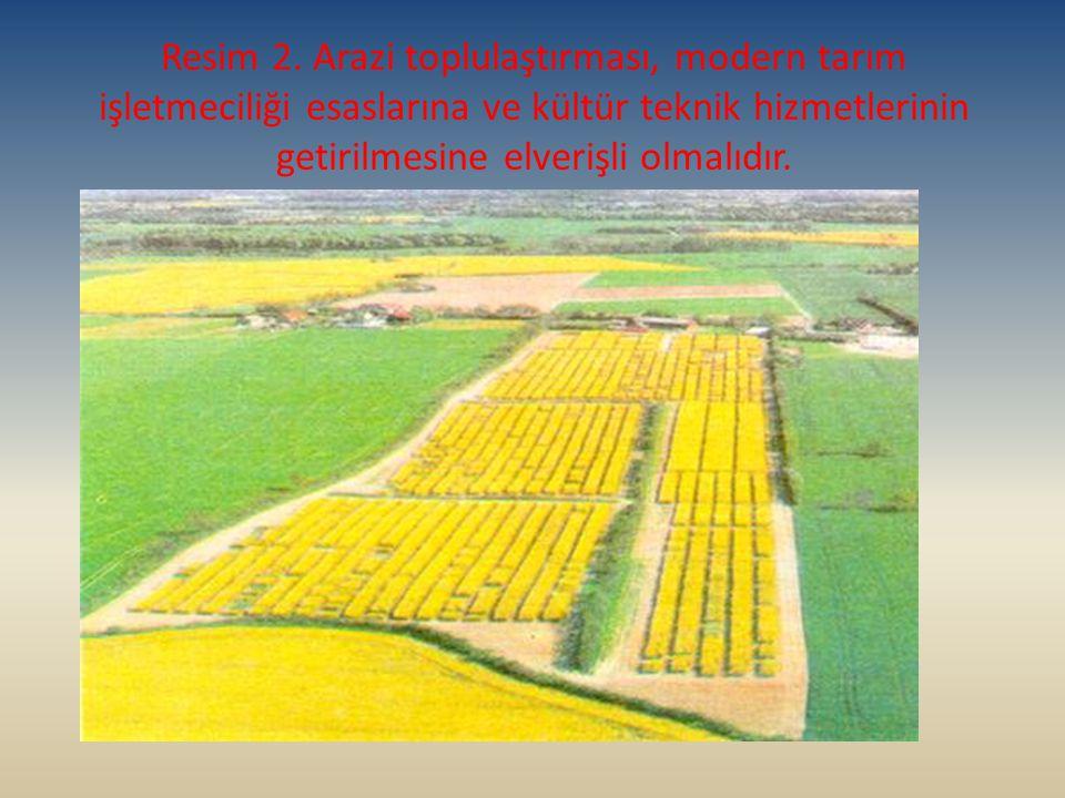 Resim 2. Arazi toplulaştırması, modern tarım işletmeciliği esaslarına ve kültür teknik hizmetlerinin getirilmesine elverişli olmalıdır.
