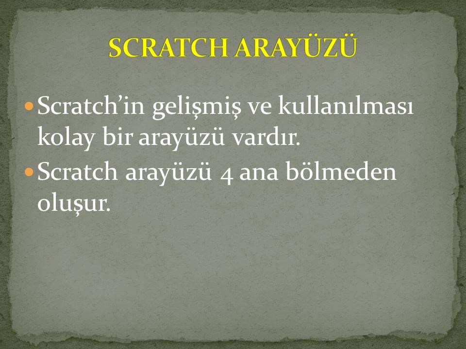 Scratch'in gelişmiş ve kullanılması kolay bir arayüzü vardır. Scratch arayüzü 4 ana bölmeden oluşur.