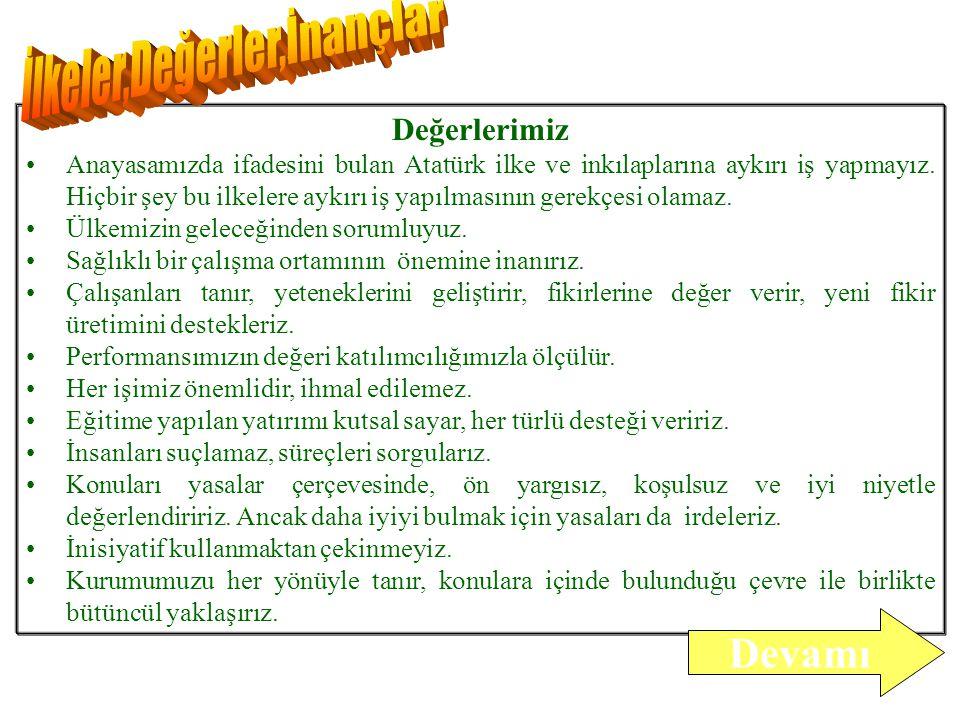 Değerlerimiz Anayasamızda ifadesini bulan Atatürk ilke ve inkılaplarına aykırı iş yapmayız.