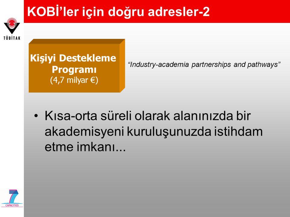 KOBİ'ler için doğru adresler-2 Kısa-orta süreli olarak alanınızda bir akademisyeni kuruluşunuzda istihdam etme imkanı... Kişiyi Destekleme Programı (4