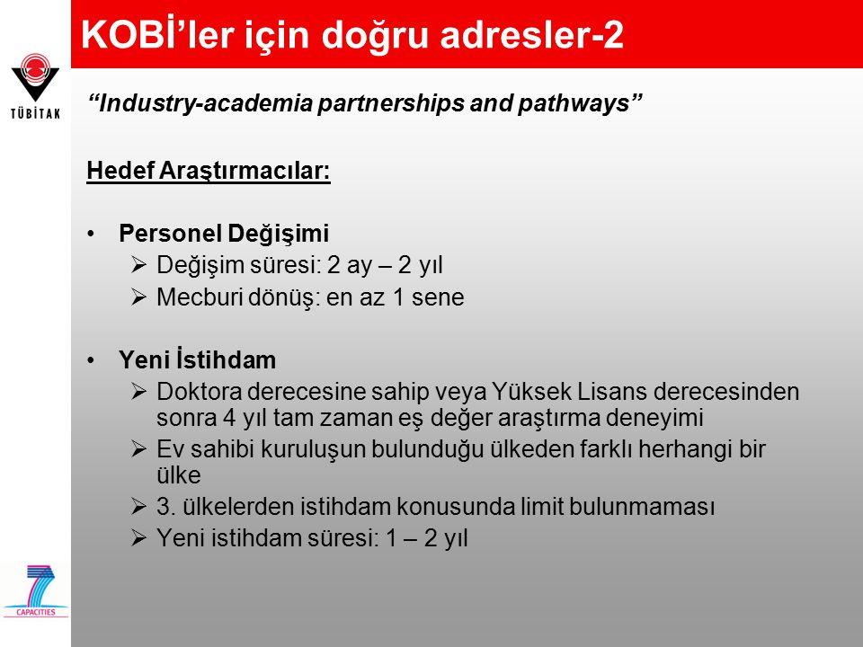 KOBİ'ler için doğru adresler-2 Hedef Araştırmacılar: Personel Değişimi  Değişim süresi: 2 ay – 2 yıl  Mecburi dönüş: en az 1 sene Yeni İstihdam  Do