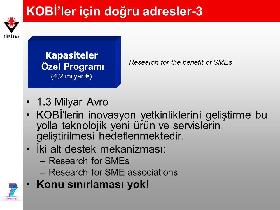 KOBİ'ler için doğru adresler-3 Research for the benefit of SMEs Kapasiteler Özel Programı (4,2 milyar €) 1.3 Milyar Avro KOBİ'lerin inovasyon yetkinliklerini geliştirme bu yolla teknolojik yeni ürün ve servislerin geliştirilmesi hedeflenmektedir.