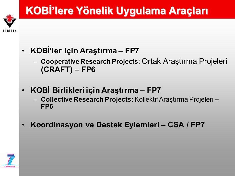 KOBİ'lere Yönelik Uygulama Araçları KOBİ'ler için Araştırma – FP7 –Cooperative Research Projects : Ortak Araştırma Projeleri (CRAFT) – FP6 KOBİ Birlikleri için Araştırma – FP7 –Collective Research Projects: Kollektif Araştırma Projeleri – FP6 Koordinasyon ve Destek Eylemleri – CSA / FP7