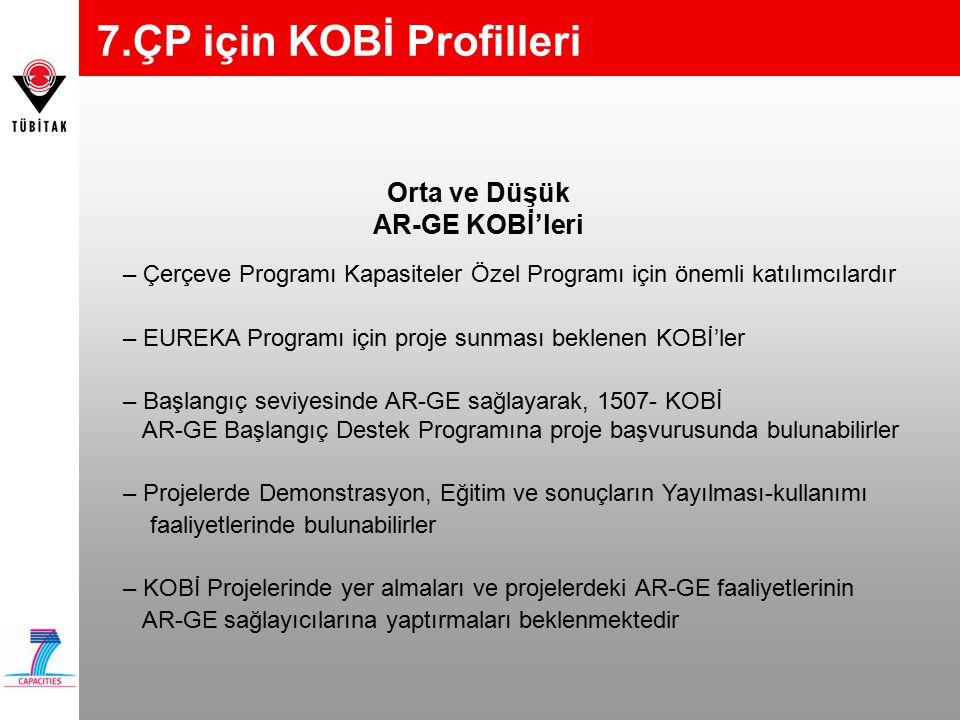 Orta ve Düşük AR-GE KOBİ'leri – Çerçeve Programı Kapasiteler Özel Programı için önemli katılımcılardır – EUREKA Programı için proje sunması beklenen K