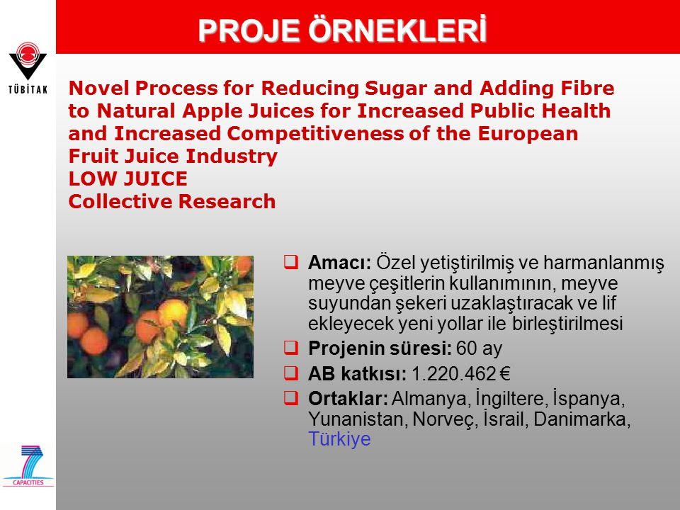 Novel Process for Reducing Sugar and Adding Fibre to Natural Apple Juices for Increased Public Health and Increased Competitiveness of the European Fruit Juice Industry LOW JUICE Collective Research PROJE ÖRNEKLERİ  Amacı: Özel yetiştirilmiş ve harmanlanmış meyve çeşitlerin kullanımının, meyve suyundan şekeri uzaklaştıracak ve lif ekleyecek yeni yollar ile birleştirilmesi  Projenin süresi: 60 ay  AB katkısı: 1.220.462 €  Ortaklar: Almanya, İngiltere, İspanya, Yunanistan, Norveç, İsrail, Danimarka, Türkiye