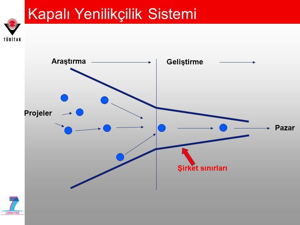 Kapalı Yenilikçilik Sistemi Araştırma Geliştirme Pazar Projeler Şirket sınırları