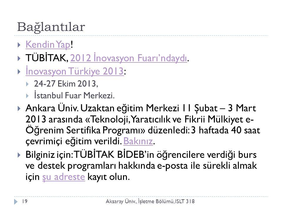 Bağlantılar Aksaray Üniv., İ şletme Bölümü, ISLT 31819  Kendin Yap.