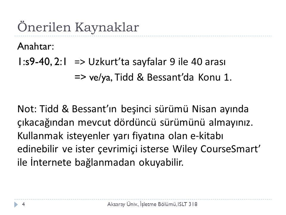 Önerilen Kaynaklar Aksaray Üniv., İ şletme Bölümü, ISLT 3184 Anahtar: 1:s9-40, 2:1 => Uzkurt'ta sayfalar 9 ile 40 arası => ve/ya, Tidd & Bessant'da Konu 1.