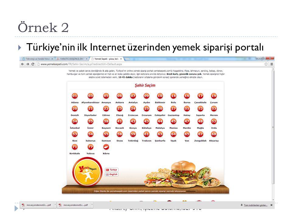 Örnek 2 Aksaray Üniv., İ şletme Bölümü, ISLT 3189  Türkiye'nin ilk Internet üzerinden yemek siparişi portalı